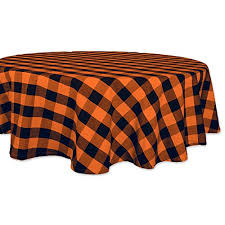 dii 70 round cotton tablecloth black orange buffalo check plaid perfect for dinner parties and scary nights