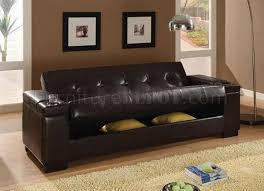 Dark Brown Vinyl Contemporary Sofa Bed w/Hidden Storage