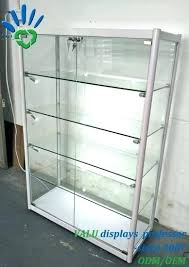 aluminium free standing glass showcase display net with led lights locking case small china cabinet lockable