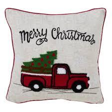 Vintage Red Truck Holiday Square Throw Pillow Tan   Saro Lifestyle