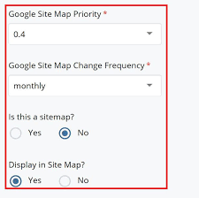 custom metadata site map settings