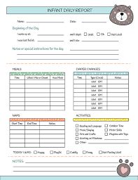 Printable Nanny Log Daily Infant Care Sheet Babysitter Caregiver