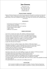 Resume Templates: Planning Engineer