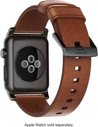 nomad modern leather watch strap for apple watch 42mm and 44mm brown with black lugs strap aw 42mm ns hor brn bl best