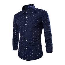 Lanbaosi Mens Anchor Rudder Print Long Sleeve Dress Shirt