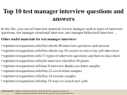 Situational Based Interview Questions Top 10 Test Manager Interview Questions And Answers