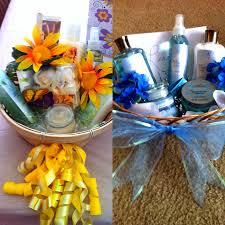 Dollar tree gift baskets for birthdays; used ribbon to decorate the basket,  confetti for