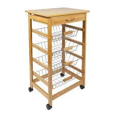 woodluv bamboo kitchen storage trolley cart