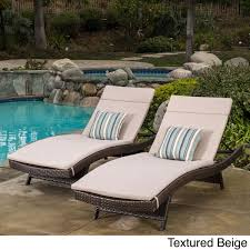 toscana outdoor wicker adjule chaise lounge with cushion set of by christopher knight home brown wicker with textured beige cushion patio furniture