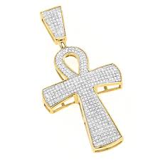 10k gold iced out egyptian ankh cross diamond symbol of life pendant 0 85ct yellow image
