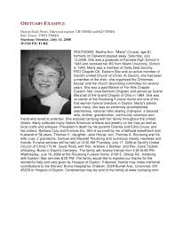 How To Write A Newspaper Obituary With Examples Examples
