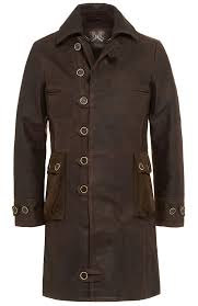 bane brown calf leather coat