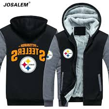 steelers winter coat men fleece hoos autumn winter hip hop thicken sweatshirts fashion zipper fleece hoo