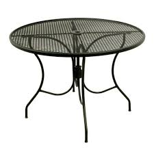 meadowcraft outdoor 42 inch round metal iron mesh patio dining table black