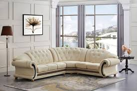 esf apolo classic ivory leather living room sectional sofa right hand facing reviews esf apolo