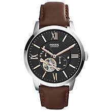 automatic or self winding men s watches john lewis buy fossil men s townsman skeleton automatic leather strap watch online at