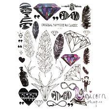 Velké Nalepovací Tetování Diamanty A Pírka