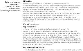Sample Nursing Objectives For Resumes Resume Web