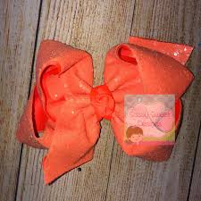 Sassy Sweet Designs Neon Orange Sassy Sequins Hair Bow