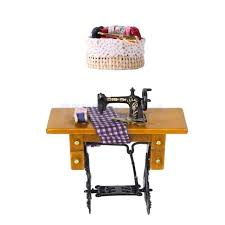Dollhouse furniture 1 12 scale Melissa Miniature Dollhouse Furniture 12 Scale Mini Vintage Sewing Machine With Colth Dolls House Accessories Tjw Christmas Holiday Bitsynest Miniature Dollhouse Furniture 12 Scale Mini Vintage Sewing