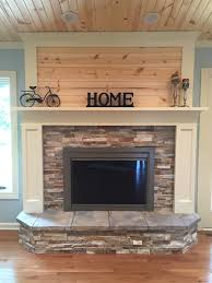 Painted Knotty Pine Fireplace Update With Stacked Stone Painted Wood And Knotty Pine