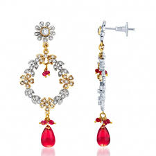 sublime oxidize plated cz studded chandelier earrings