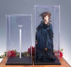display cases plastic doll covers with stand doll and figurine display cases