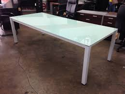 chiarezza ' conference table green frosted glass top and white