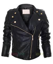 item description womens faux leather biker jacket large pointed lapels