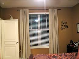 white modern horizontal blind come with vinyl material blinds together brown fabric curtain design for window