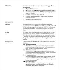 Resume Of Sap Mm Consultant Sap Mm Materials Management Sample