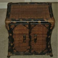 vintage small wicker bamboo cabinet storage chest footed