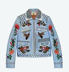 leather jacket studs smokey blue w embroidery and white with gold leather jacket studs