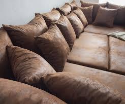 Couch Clovis Braun Antik Optik Mit Hocker Wohnlandschaft
