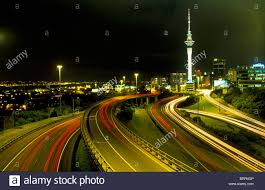 Night Light Auckland Auckland City Skyline At Night With Light Trails And