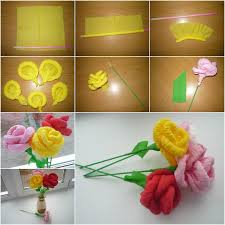 How To Make Paper Flower Bouquet Step By Step How To Diy Easy Napkin Paper Flowers