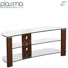 tnw vision curve 1000 walnut and clear glass tv stand for
