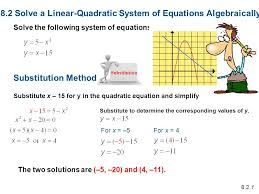 8 2 solve a linear quadratic system of equations algebraically