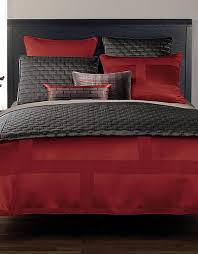gray and red bedroom. i love grey and red beddings :) gray bedroom