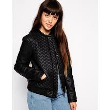 ASOS Bomber Jacket in Quilted Leather Look - Polyvore & ASOS Bomber Jacket in Quilted Leather Look Adamdwight.com