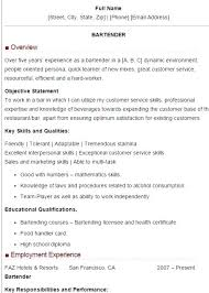 Bartender Resume Job Description Delectable Bartender Resume Examples Datainfo