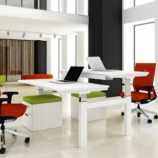 ... Contemporary Image Of Home Office Decoration Using 2 Person Home Office  Desk : Impressive Modern Home ...