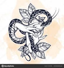 ева руки с запретный плод и змея рисованной тату искусства элемент