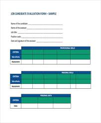 candidate assessment form sample sample candidate evaluation forms 8 free documents in word pdf