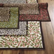 Savannah Rug   Leopard Print Area Rug   Blooming Red Roses Rug  Rug W/