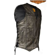 mens distressed brown motorcycle vest with 10 pockets zoom
