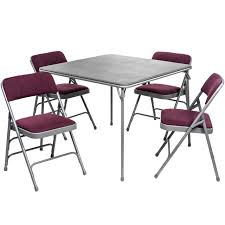 5pc XL Series Folding Card Table and Fabric Padded Chair Set, Grey - Burgundy/Grey Chairs FoldingChairsandTables.com