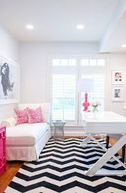 white and pink office with jett desk