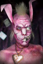 creepy take on the clic alice in wonderland character used bald cap paper ears and hair everything else is 2d paint you tutorial for anyone
