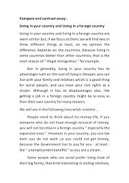 compare and contrast essay compare and contrast essay living in your country and living in a foreign country living